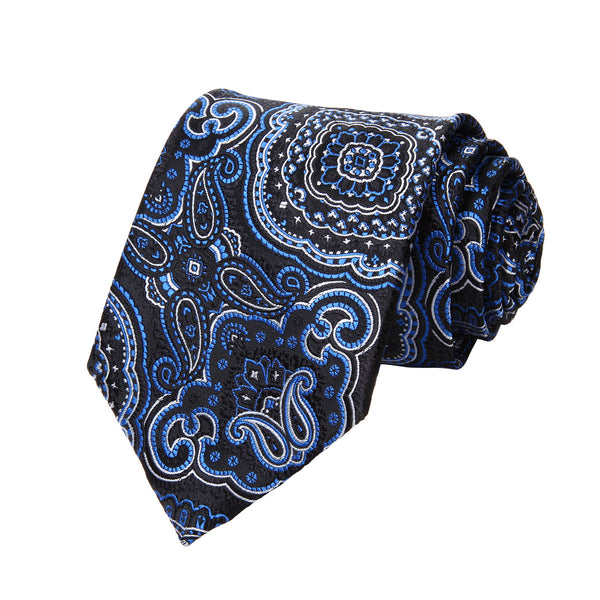 "TP707B8S Blue Black Paisley 3.4"" Silk Woven Men Tie Necktie Handkerchief Set Party Wedding Classic Pocket Square Tie"