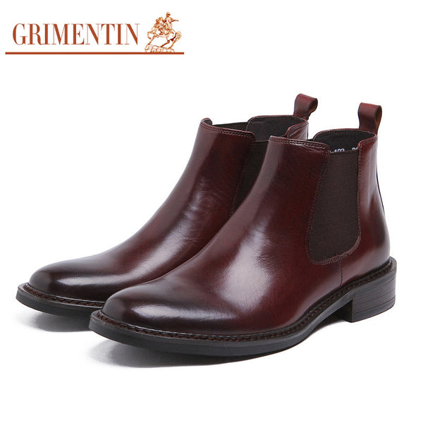 2015 italian luxury fashion dress shoes mens ankle boots genuine leather black brown men shoes for business wedding 292
