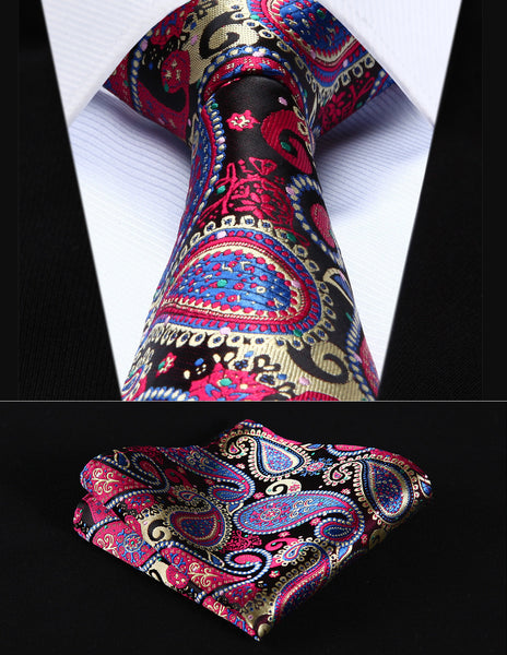 "Party Wedding Classic Pocket Square Tie TP706M8S Blue Red Green Paisley 3.4"" Silk Woven Men Tie Necktie Handkerchief Set"