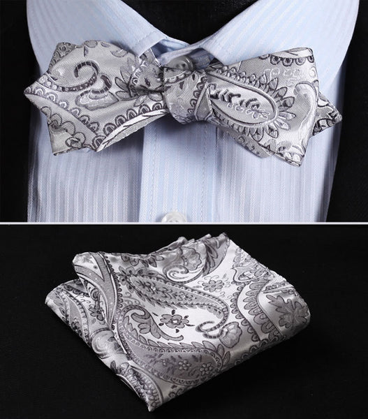 JF402A Gray Silver Floral Silk Men Diamond Point Tip Self Bow Tie Pocket Square Handkerchief Hanky Suit Set