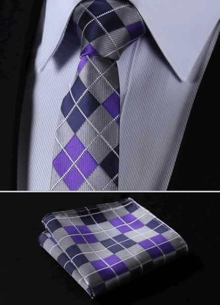 "TC4033P7 Gray Purple Check 2.75"" 100%Silk Woven Slim Skinny Narrow Men Tie Necktie Handkerchief Pocket Square Suit Set"