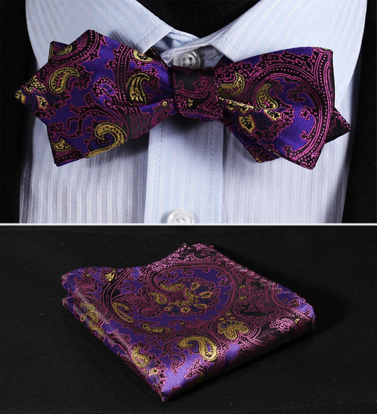 JF201P Purple Yellow Floral Silk Men Diamond Point Tip Self Bow Tie Pocket Square Handkerchief Hanky Suit Set