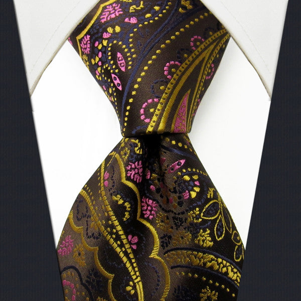 Q24 Floral Brown Yellow Pink Mens Necktie Ties 100% Silk Extra Long Size Fashion