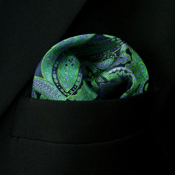 QH5 Floral Black Green Pocket Square Mens Hanky