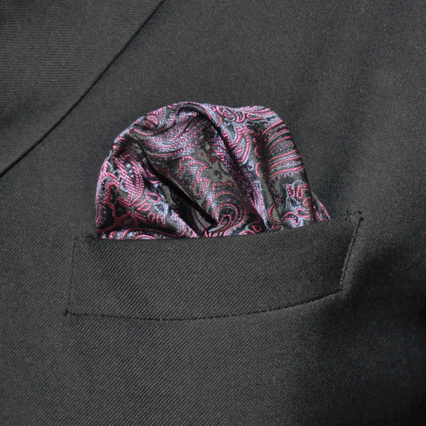 HH17 Pink black Mens Pocket Square Fashion Classic Silk Dress Hanky