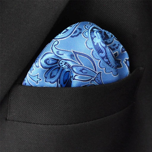 MH13 Light Blue Azure Pocket Square Mens Neckties