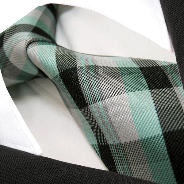 U8 Black Light Green Checkes Mens Ties Silk Handmade PLAID NECKTIE