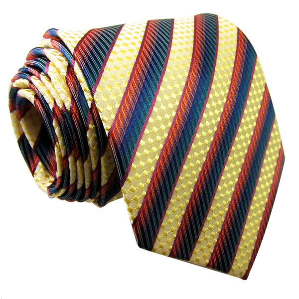P20 Stripes Multicolor Yellow Blue Orange Mens Neckties Ties 100% Silk Jacquard