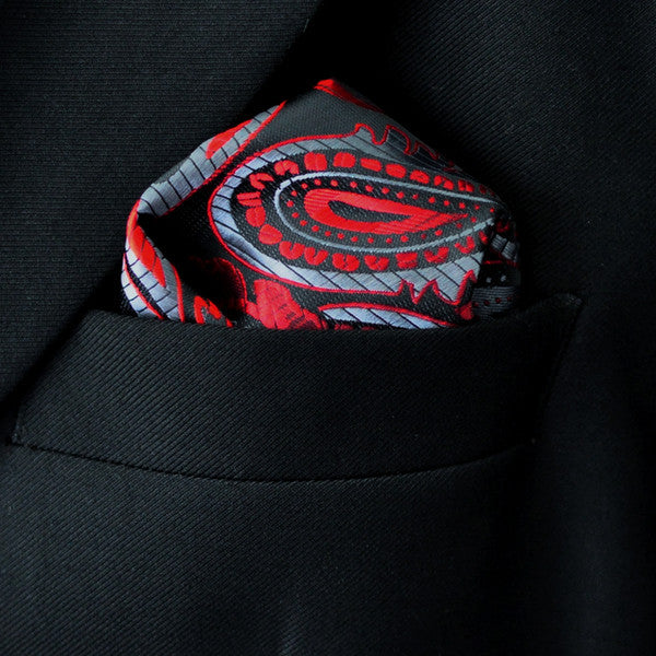 JH14  Floral Black Red Gray Grey Pocket Square Mens Neckties Hanky