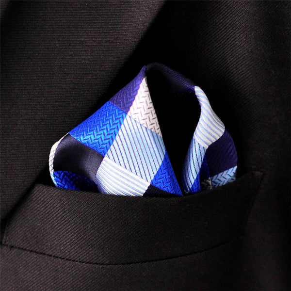 KH2 Hanky Checked Blue Silver Black Handkerchief Mens Ties Woven Pocket