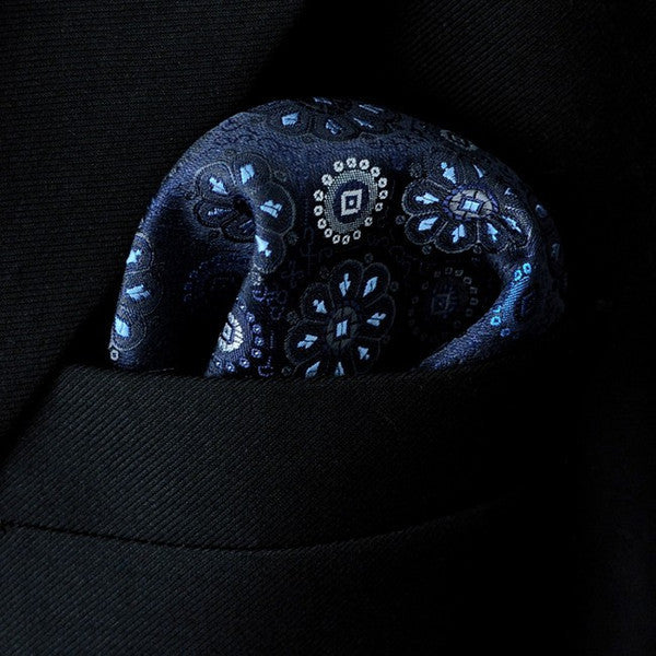 MH11 Floral Navy Dark Blue Pocket Square Mens Ties Silk  Hankies