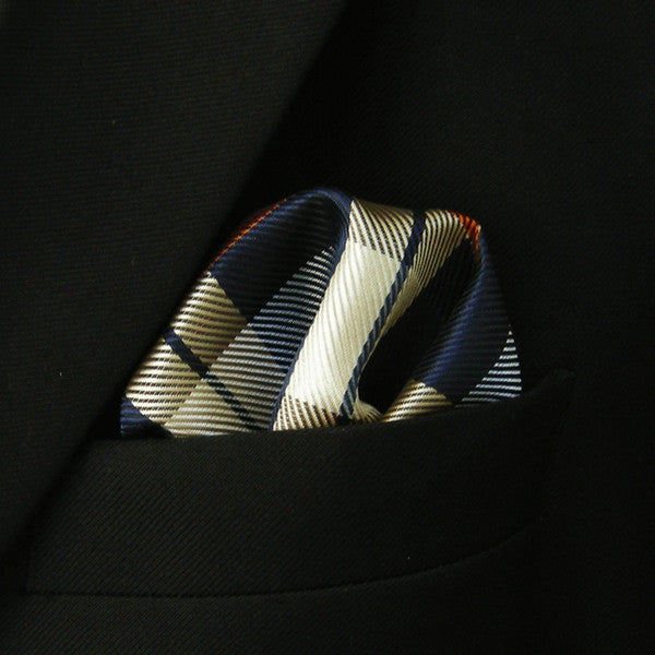 IH12 Checked Khaki Navy Blue Orange Mens Silk Pocketsquare