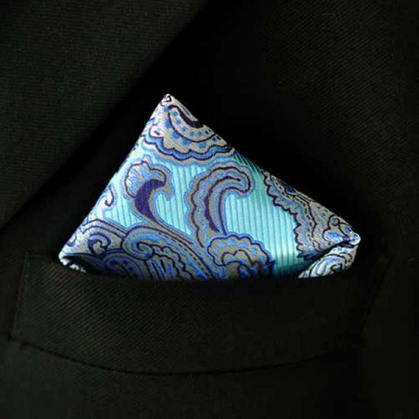 PH2 Floral Blue Silver Gray Handkerchiefs Neckties Silk Hanky Pocket Square Silk