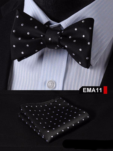 Black, Silver Floral 100% Silk Butterfly Tie Self Tie Bow Tie Pocket Square Bow