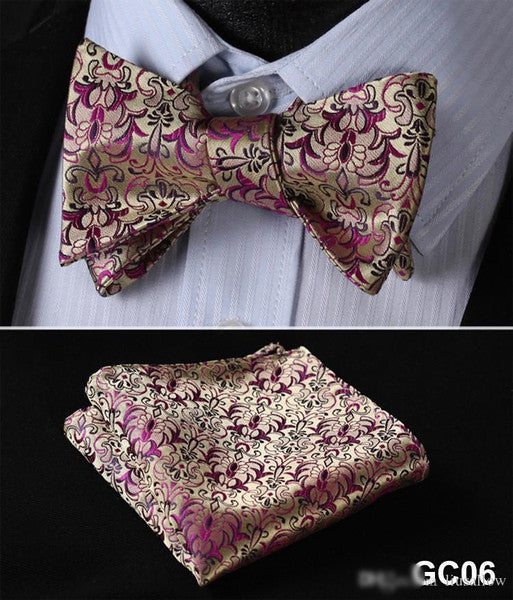 Gold and Pink Men Butterfly Self Tie Bow Tie Pocket Square Suit Set