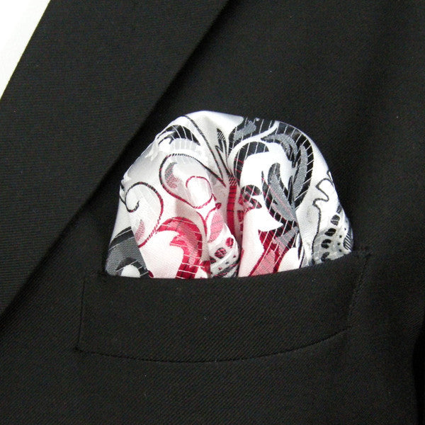 HH19 Light Gray Grey Red Black Pocket Square Mens Neckties Hanky