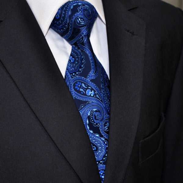 U11 Navy Paisley Pattern Mens Ties Silk Handmade Wedding Fashion Classic Brand N