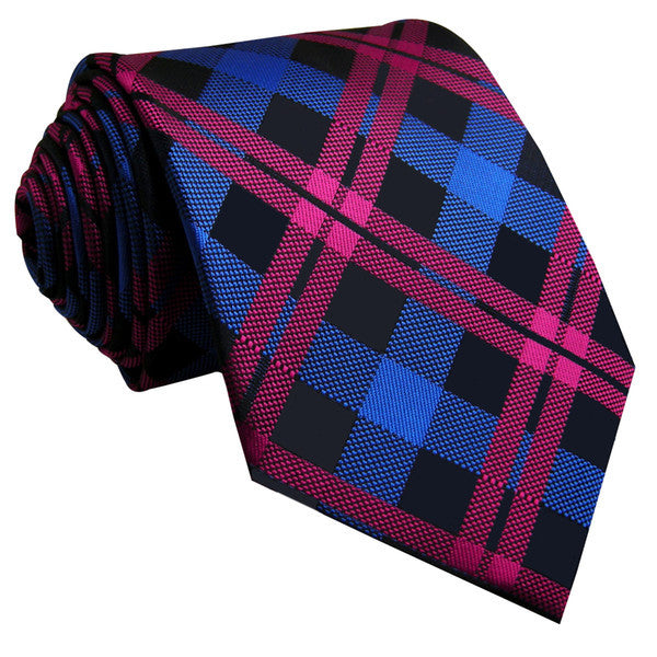 U14 Blue Pink Checkes Mens Ties Silk Handmade Wedding Fashion Classic Brand New