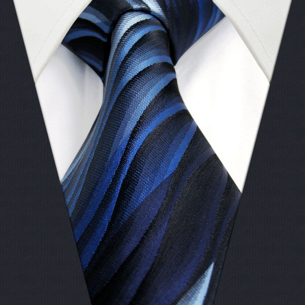 U23 Mens Ties Blue Gradual Change Ripple Silk Handmade Wedding Fashion Classic B