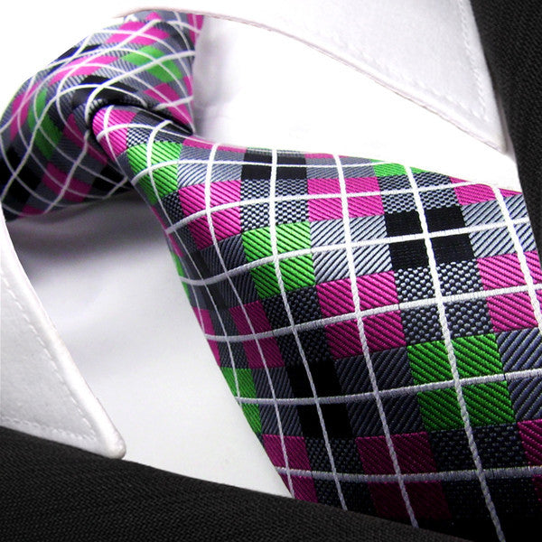 Q10 Checked Multi-color Grey Gray Pink Green PLAID NECKTIE 100% Jacquard Woven