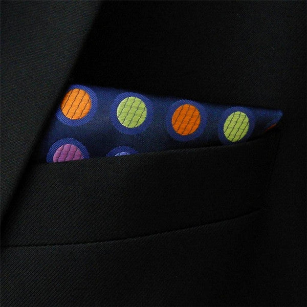 MH5 Polka Dots Multicolor Navy Dark Blue Silk Handkerchief