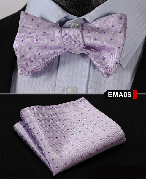 Purple Floral 100% Silk Butterfly Tie Self Tie Bow Tie Pocket Square Bow tie Set