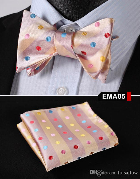 Yellow Floral 100% Silk Butterfly Tie Self Tie Bow Tie Pocket Square Bow tie Set