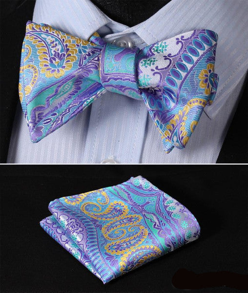 GC02 Purple, Yellow, Blue Men Butterfly Self Tie Bow Tie Pocket Square Suit Set