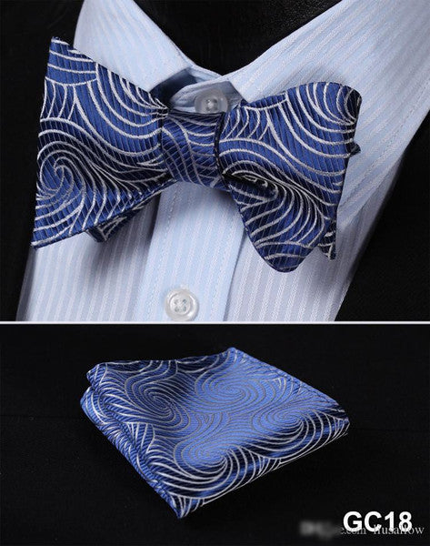 Blue, Silver Men Butterfly Self Tie Bow Tie Pocket Square Suit Set