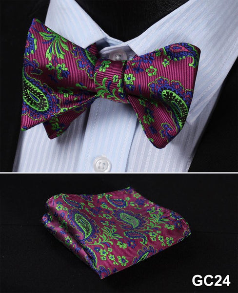 GC24 PURPLE, GREEN Floral 100% Silk Butterfly Tie Self Tie Bow Tie Pocket Square