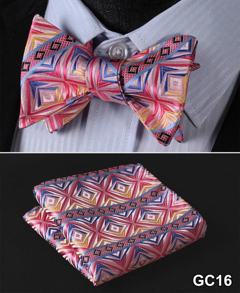 Pink, Blue, Yellow Floral 100% Silk Butterfly Tie Self Tie Bow Tie Pocket Square