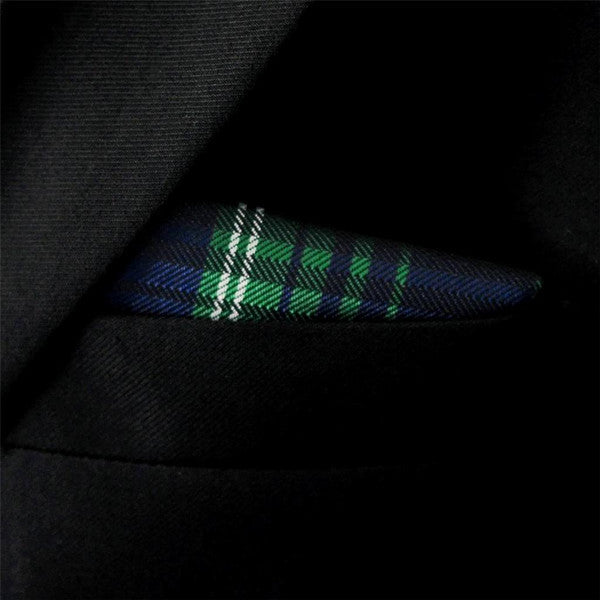MH12 Scotland Plaid Checked Green Navy White Pocket Square