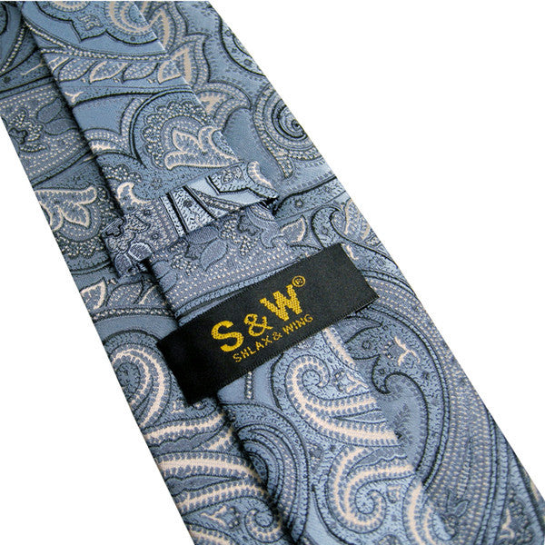 U7 Indigo Paisley Pattern Mens Ties Silk Handmade Wedding Fashion Classic Brand