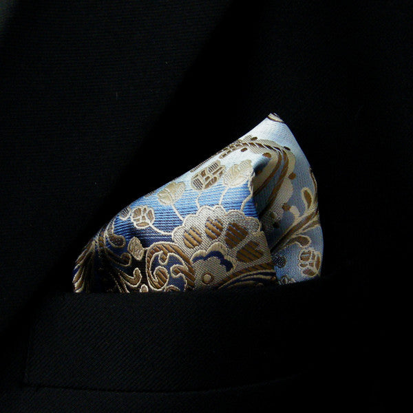 IH9 Floral Azure Blue Navy Khaki Brown Pocket Square Mens Ties Hanky