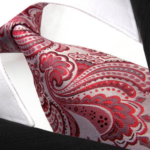 Q6 Paisley Baby Pink Silver Mens Necktie Ties 100% Silk Jacquard Woven Extra Long Size