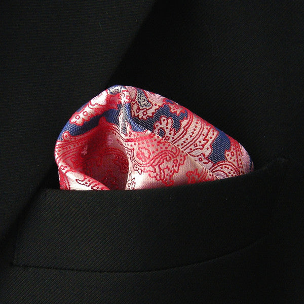 QH23 Floral Pink Pocket Square Mens Neckties Hanky