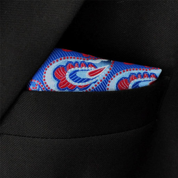 MH19 Hanky Blue Red Silk Pocket Square