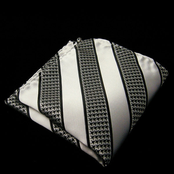 IH21 Stripes White Black Men Woven Silk Pocketsquare Brand New
