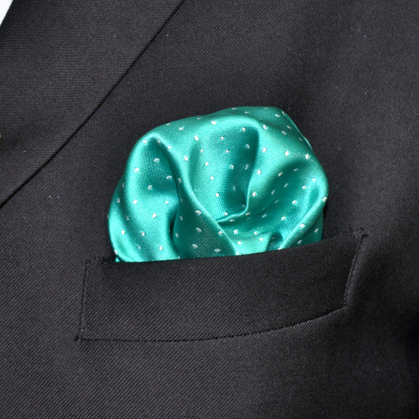 HH38 Dots Turquoise Green White Pocket Square Mens NecktiesHanky