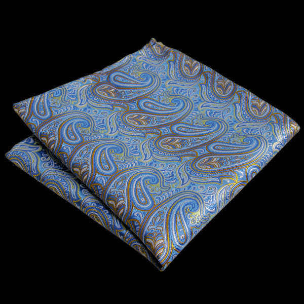 UH9 Light Blue Azure Yellow Pocket Square Mens Neckties