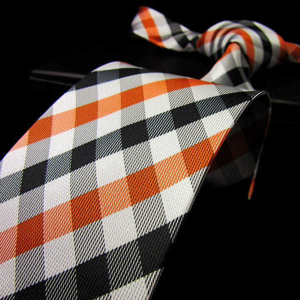 P1 Brand New Checked Orange Black White Men PLAID NECKTIE 100% Silk Jacquard Wov