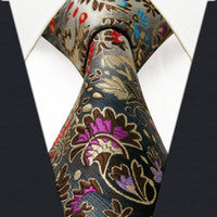 PXL12 PAISLEY Extra Long Size Floral multi-color Mens Ties Necktie 100% Silk Jacquard