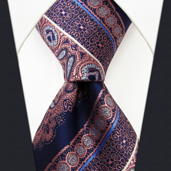 P9 Stripes Floral Blue Navy Dark Pink Mens Neckties Ties 100% Silk Jacquard Wove