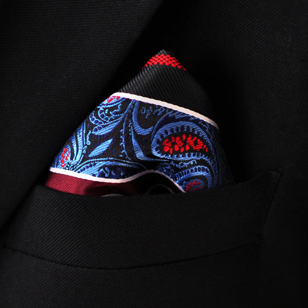 PH29 Stripes Floral Royal Blue Burgundy Black Red Pocket Square Handkerchief Men