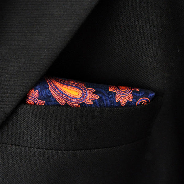 MH25  Navy Blue Orang Apricot Handkerchief Pocket Square Mens Neckties Ja
