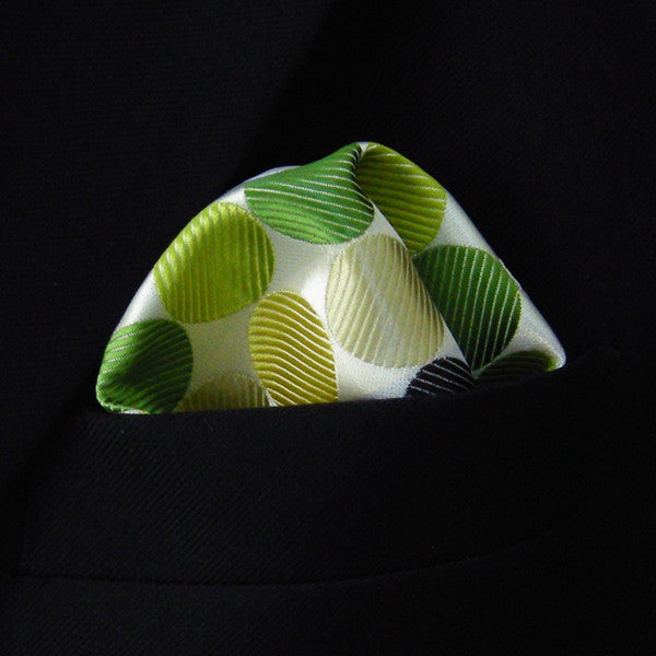 IH17 Pocket Square Polka Dot White Yellow Green Black Hanky Mens Neckties