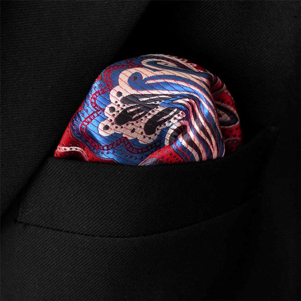 MH23 Hanky Pattern Floral Multicolor Red Crimson Blue Handkerchiefs Neckties Sil