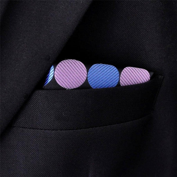 MH18 Dots Blue Black Purple Pocket Square Mens Ties Silk Neckties Suit Gift