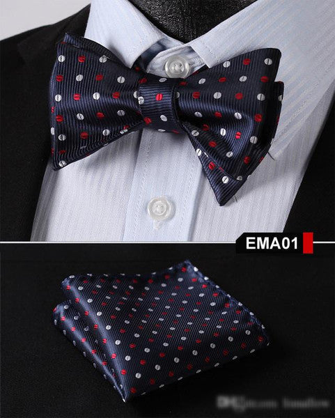 Blue, Red, SilverFloral 100% Silk Butterfly Tie Self Tie Bow Tie Pocket Square B