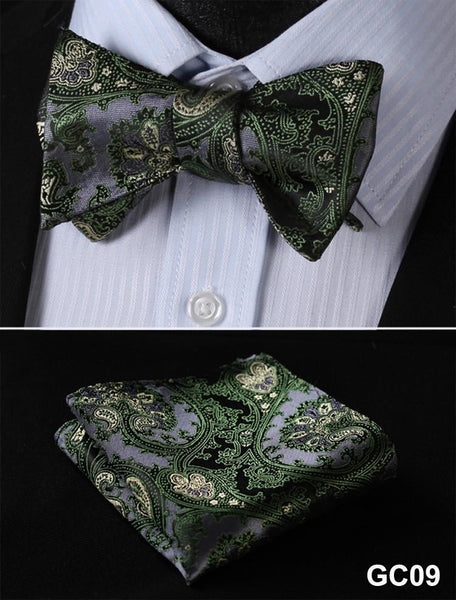 GC09 GREEN, GRAY Floral 100% Silk Butterfly Tie Self Tie Bow Tie Pocket Square B